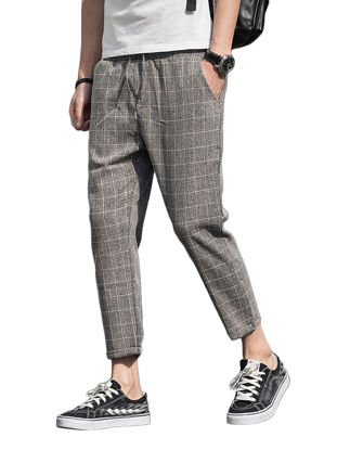 Picture of Men's Casual Pants Plus Size Pocket Checkered Pattern Stylish Cozy All Match Breathable Pants - Size: 5XL