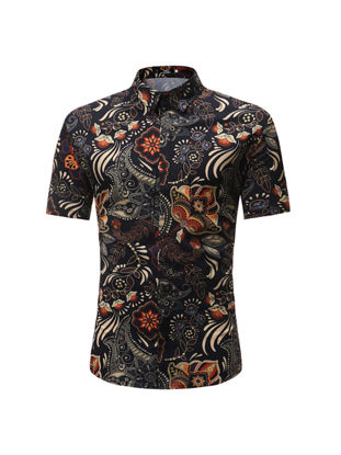 Picture of Men's Shirts Flowers Pattern Button Turn Down Collar Colorblock Plus Size Shirts - Size: 3XL