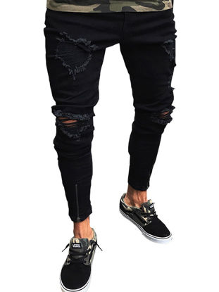 Picture of Men's Jeans Solid Color Frayed Slim All Match Fashion Jeans - Size: XL