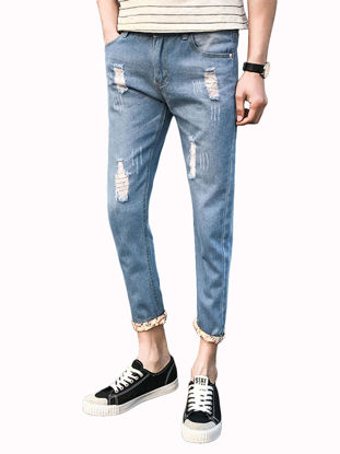 Picture of Men's Jeans Mid Waist Distressed Design All Match Casual Stylish Jeans - Size: 30