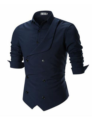 Picture of Men's Shirt Solid Color Long Sleeve Stand Collar All Match Fashion Top - Size: L