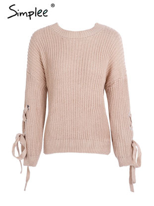 Picture of Simplee Women's Pullover Solid Color Comfy Casual Top - Size: Free
