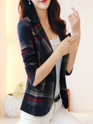 Picture of Women's Blazer Notched Collar Long Sleeve Plaid Blazer - Size: XL