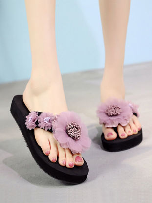 Picture of Women's Fashion Slippers Ladylike Flower Decor Anti-Slip Indoor Outdoor Slippers - Size: 41