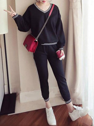 Picture of Women's Two Pieces Set Long Sleeve V Neck Sweatshirt Striped Pattern Loose Casual Pants Set - Size: S