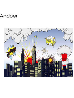 Picture of Andoer 1.5 * 2.1m/5 * 7ft Photography Background Super Hero City Baby Backdrop Photo Studio - Size: Free