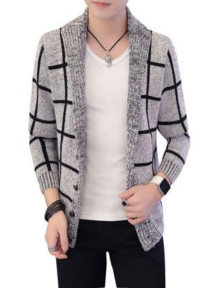 Picture of Men's Cardigan Plaid Long Sleeve Fashion Mens Clothing - Size: L