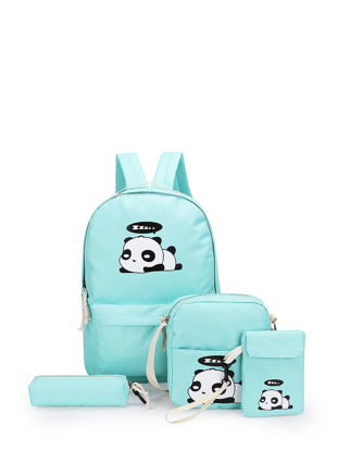 Picture of 4 Pcs Women's Backpack Set Cartoon Pattern All Match Zipper Preppy Bag - Size: One Size