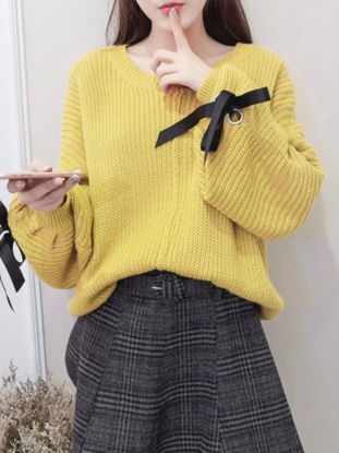 Picture of Women's Sweater Bishop Sleeve Solid Color Long Sleeve Loose Pullover - Size: Free