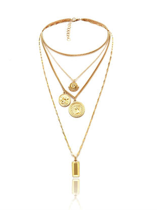 Picture of Women's Multi-layer Necklace Solid Color Vintage Stylish Necklace Accessory - Size: One Size