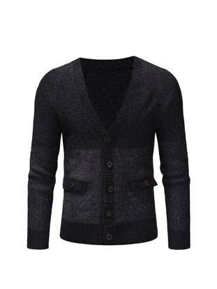 Picture of Men's Cardigan Buttons V Neck Long Sleeve Color Block Patchwork Casual Cardigan - Size: M
