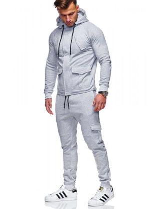 Picture of 2 Pcs Men's Pants Set Sports Quick Drying Anti-Friction Comfy All Match Leisure Classic Set - Size: XL
