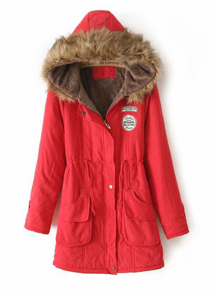 Picture of Women's Quilted Coat Long Sleeve Hooded Thicken Warm Winter Coat - Size: XXL