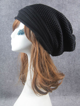 Picture of Women's Skullies Solid Color Knitted Warm Simple Design Beanies - Size: One Size