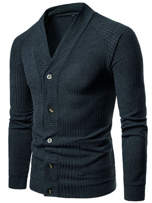 Picture of Men's Cardigan Long Sleeve V Neck Solid Color Button Knitwear - Size: M