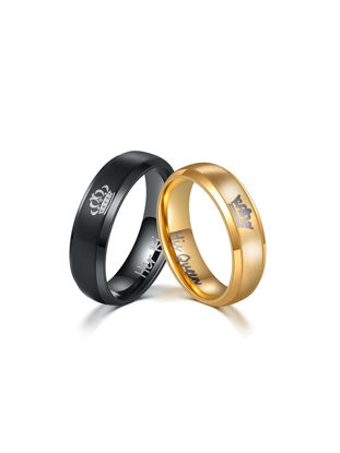 Picture of Men's 1 Pair Rings Letter Pattern Ring Accessory - Size: 10