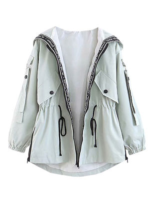 Picture of Women's Trench Coat Pocket Zipper Hooded Outerwear - Size: XXL