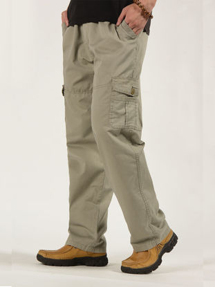 Picture of Men's Straight Pants Stylish Casual Loose Trousers - Size: 3XL