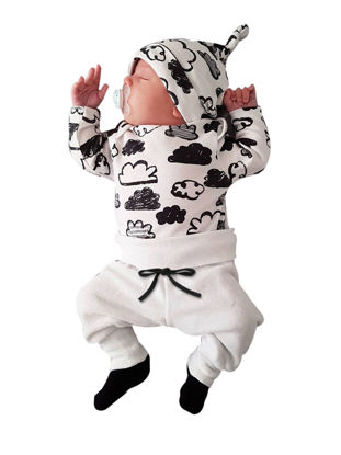 Picture of Baby 3Pcs Baby's Clothing Set Long Sleeve Cloud Printed T Shirt Comfy Pants And Hat Kit - Size: 60cm