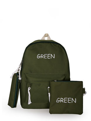 Picture of 3 Pcs Women's Backpack Set Solid Color Letter Pattern Preppy Large Capacity Bags - Size: One Size