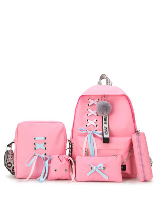Picture of 5 Pcs Women's Backpack Set Solid Color Sweet Preppy Bag Suit - Size: One Size