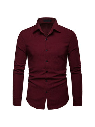 Picture of Men's Shirt Solid Color Long Sleeves All Match Casual Shirt - Size: M