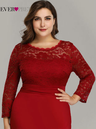 Picture of Women's Plus Size Dress Fashion Solid Hollow Out Long Sleeve O Neck Maxi Long Dress - Size: UK 26