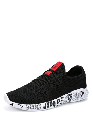 Picture of Men's Sports Fashion Shoes Solid Color Lace Up Low Top Running Shoe - Size: 43
