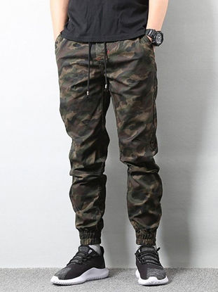 Picture of AKARMY Men's Casual Pants Camouflage Drawstring Pocket Pants - Size: 3XL