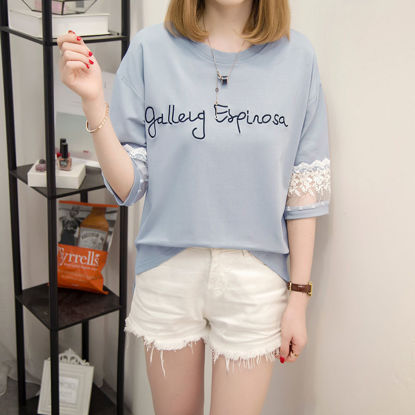 Picture of Women's Blouse O Neck Half Sleeve Letter Pattern Top - Size: L
