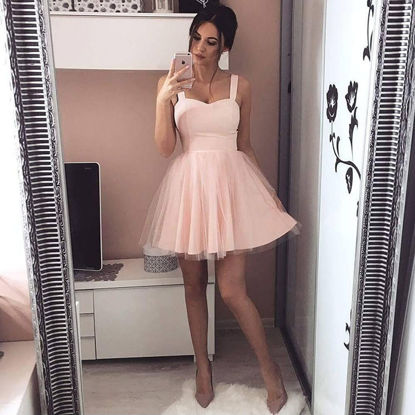 Picture of Women's Aline Dress High Waist Solid Color Sweet Tank Dress - Size: M