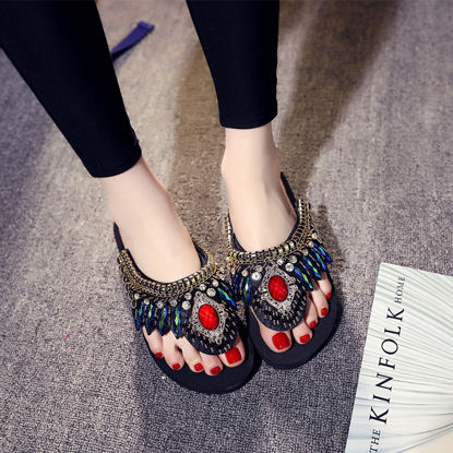 Picture of Women's Flip Flops Classic Style Multi-color All Match Comfy Shoes - Size: 38