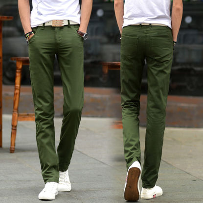 Picture of Men's Straight Leg Pants Solid Color Breathable Comfy Casual Pants - Size: 34