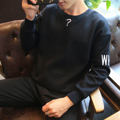 Picture of Round neck pullover men's sweater Japanese youth casual long-sleeved T-shirt - Size: XXL