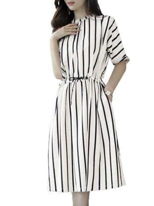 Picture of Women's A Line Dress Half Sleeve Loose Striped Dress - Size: L