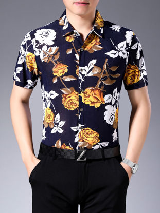 Picture of Men's Shirt Plus Size Rose Print Short Sleeve Top - Size: 4XL