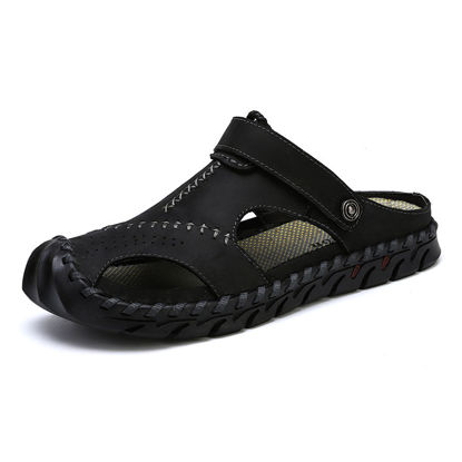 Picture of Men's Sandals Solid Color Anti-skidding Wearable Shoes - Size: 46