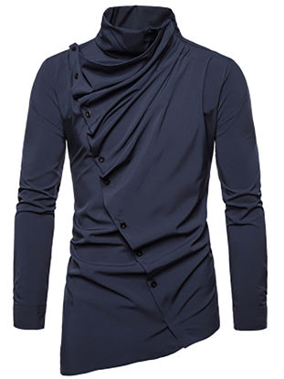Picture of Men's Shirt Asymmetrical Solid Color Long Sleeve Top - Size: XL