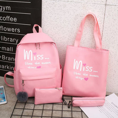 Picture of 4Pcs Women's Backpack Set Preppy Letter Bags Set - Size: One Size