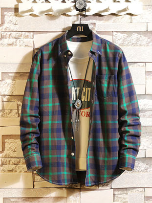 Picture of Men's Shirt Casual Plaid Pattern Long Sleeve Top - Size: XXL