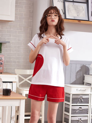 Picture of Couple's Pajamas Set Color Block Short Sleeve Home Shorts Sleepwear - Size: Women L