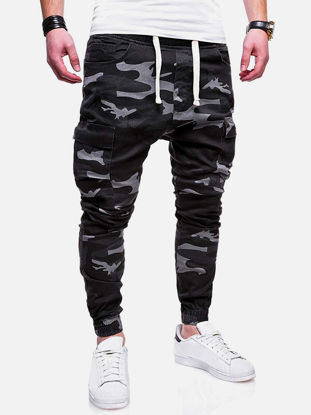 Picture of Men's Causal Pants Camouflage Pockets Breathable Sports Slim Pants - Size: L