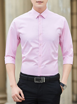 Picture of Men's Shirt Pure-colour Turn Down Collar Long Sleeve All Match Top - Size: M