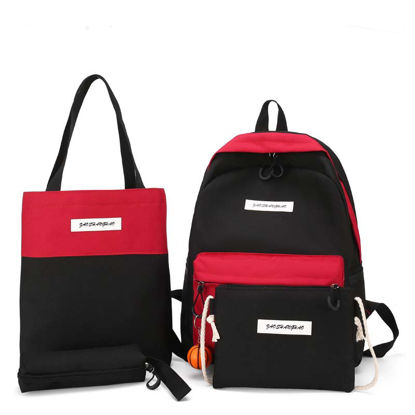 Picture of Women's 4Pcs Backpack Set Large Capacity Colorblock Bags Set - Size: One Size