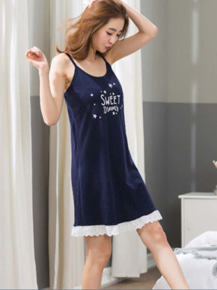 Picture of Couple's Pajamas Set Sleeveless Letter Pattern Cozy Home Sleepwear - Size: Women L