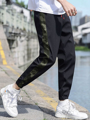 Picture of Men's Active Pants Drawstring Waist Camouflage Pattern Patchwork Ankle-tied Pants - Size: 4XL