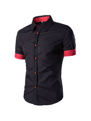 Picture of Men's Shirt Color Block Short Sleeve Slim Breathable Top - Size: XL