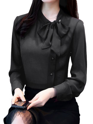 Picture of Women's Shirt O Neck Long Sleeve Bowknot Decoration Solid Fashion Top