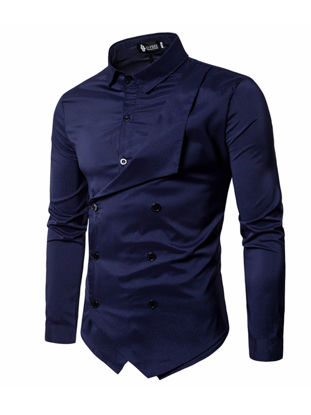 Picture of Men's Shirt Long Sleeve Solid Color Button Decor Fashion Top - Size: XL