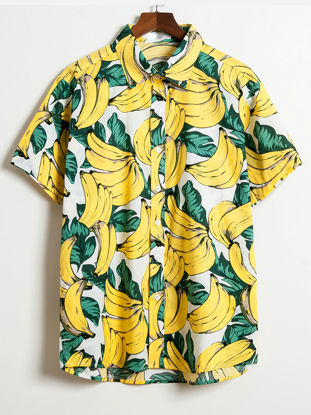 Picture of Men's Shirt Turn Down Collar Short Sleeve Banana Pattern Top - Size: XL